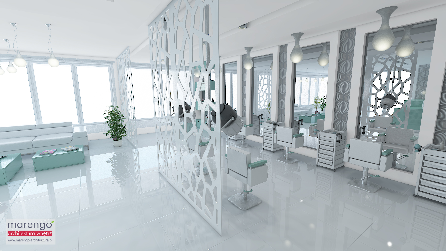 Projekt salonu fryzjerskiego w Krakowie Style 4 You- Marengo